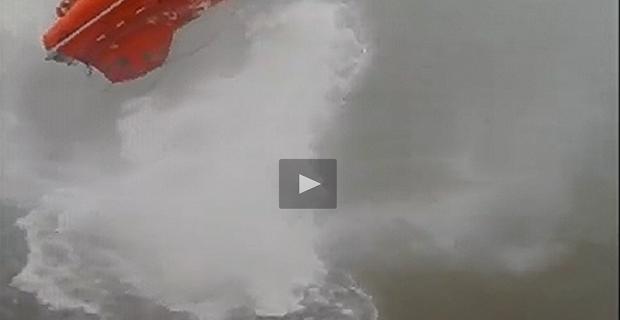 Φοβερή καθέλκυση λέμβου ελευθέρας πτώσεως! [video]