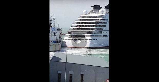 Πολυτελές και καινούριο κρουαζιερόπλοιο συγκρούστηκε στην προσπάθεια του να δέσει [βίντεο]