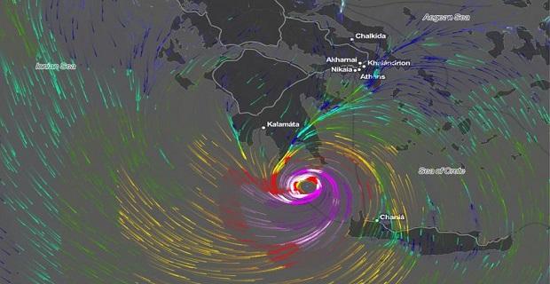 Η προβλεπόμενη πορεία του Μεσογειακού Κυκλώνα «Ξενοφών»